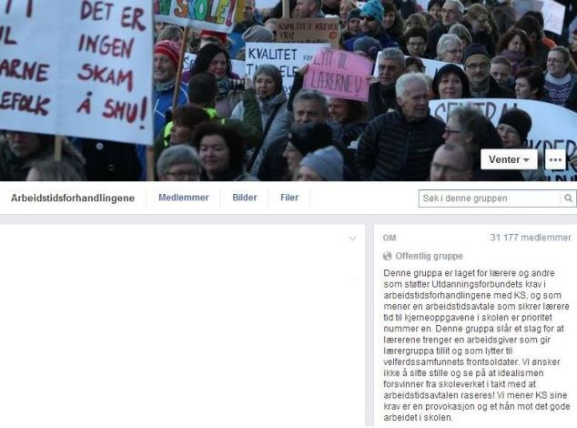 Facebook-side som benyttes av mange lærere i den pågående konflikten med KS.